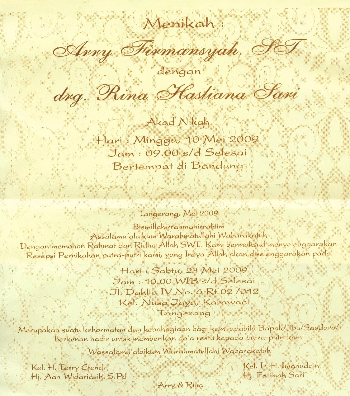 Undangan Syukuran Pernikahan Arry & Rina, Tangerang 23 May 2009